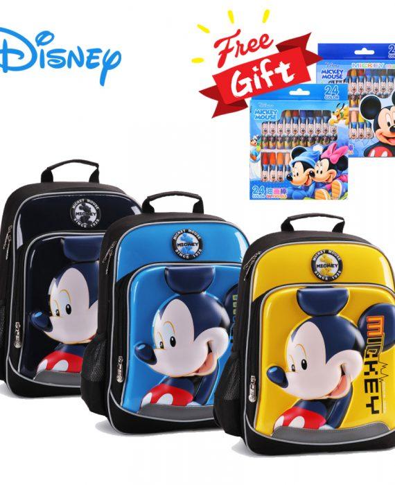 DISNEY MICKEY / MINNIE (3D HARD SHELL) - HIGH QUALITY School Bags / Backpack (FREE 1 BOX CRAYON)