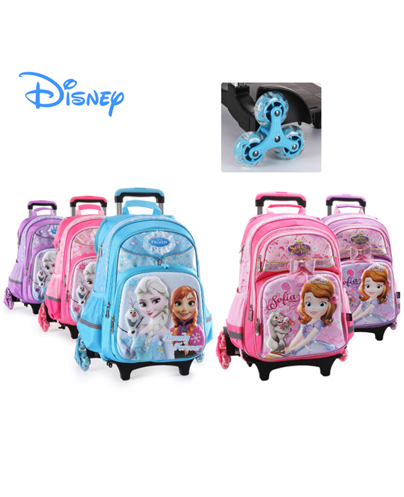 DISNEY FROZEN / SOFIA - 6 Wheels Trolley School Bag (3D Hard Shell)